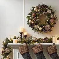 member s 39 pre lit decorated wreath pinecones eucalyptus