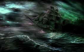 spooky desktop wallpaper spooky ship shipwreck ghost fantasy storm ocean sea waves