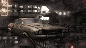 Dodge Challenger Drawing - dodge challenger artwork cityscapes flying futuristic 2400x1350