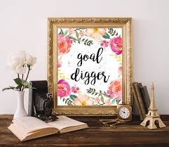 cute office decor goal digger print cubicle decor chic office decor floral wall