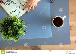 designers table with notes and tools above stock photo image