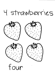 download four strawberries fruit coloring pages or print