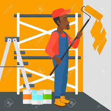 an african american man painting walls with a paint roller vector an african american man painting walls with a paint roller vector flat design illustration