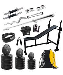 headly 100 kg home gym set with 2 dumbbell rods 2 rods 3 in 1