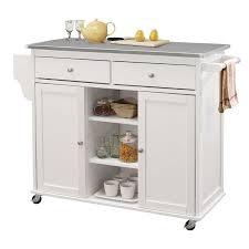 steel top kitchen island acme tullarick stainless steel top mobile kitchen island in white