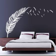 online get cheap diy wall mural aliexpress com alibaba group updated feather flying birds wall paper black white pvc removable diy wall mural for room decoration