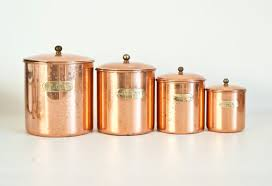 copper kitchen canister sets vintage solid copper canister set nesting metal kitchen canisters