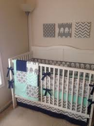 Crib Bedding Etsy by Crib Bedding Set Gray Navy And Mint Elephant With Blanket Made To