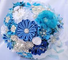 Wedding Flowers Blue And White Fabric Wedding Bouquet Brooch Bouquet