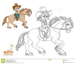 cute little in a cowboy suit riding a horse coloring page