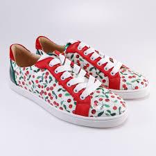 christian louboutin 37 seava cherry print white red green sneakers