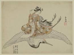 woman riding a flying crane 1765 by suzuki harunobu ukiyo e