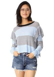 wildfox wildfox aura striped ruffle sweater sweaters shop it to me