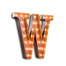 w vintage letter light with bulbs