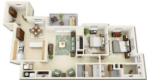 House Design With Floor Plan 3d Exellent 3d One Bedroom Apartment Floor Plans The Paul 897 And