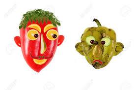 cuisiner les poivrons verts concept de cuisine créative portraits positifs et négatifs en