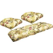 jordan manufacturing floral outdoor tufted 3 piece wicker cushion