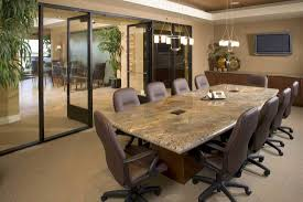 Modern Conference Room Design by Ivory Leather Upholstered Meeting Chairs Placed On Light Cream