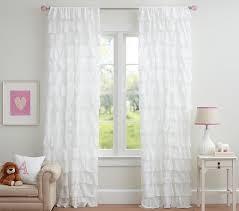 Sheer Ruffled Curtains Tiered Ruffle Sheer Panel Pottery Barn