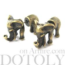 unique stud earrings unique 3d elephant animal stud earrings in bronze