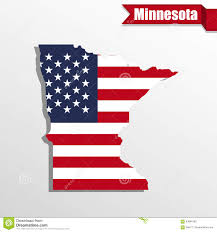 Minnesota State Map Minnesota State Map With Us Flag Inside And Ribbon Stock
