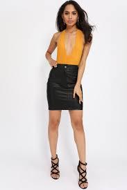 halter neck orange plunge halterneck bodysuit women s fashion isawitfirst