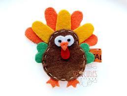 turkey felt hair clip thanksgiving hair clip non by socuties
