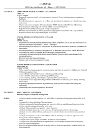 sle of resume food beverage operations resume sles velvet