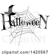clipart of a sketched happy halloween greeting over a full moon