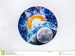 sketch planet earth and sun on a white background stock