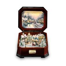 bradford exchange home decor thomas kinkade u0027holiday memories u0027 illuminating music box by the