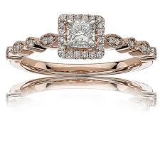 princess cut halo engagement ring ellie princess cut halo engagement ring in 14k gold