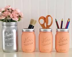 Peach Bathroom Accessories by Makeup Organizer Pencil Holder Painted Mason Jars Rose Gold