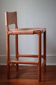 custom cherry and leather counter stool by martell woodworks