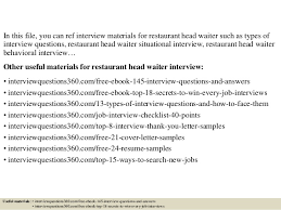 Resume Samples For Waitress by Top 10 Restaurant Head Waiter Interview Questions And Answers