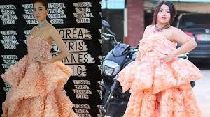 thai fashionista recreates designer gown with bags of prawn crackers