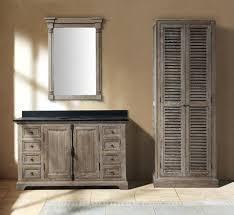 genna grey single bathroom vanity with linen cabinet and mirror