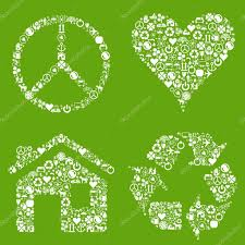 eco house heart peace vector background with many icons u2014 stock