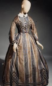 dress date ca 1862 u20131864 media blue and brown plaid silk braid