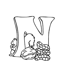 free alphabet coloring pages n is nuts alphabet coloring pages