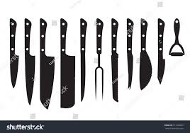 knife set black silhouette set different stock vector 511434607