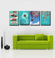 Muti Panel Green Cuadros Decorativos Kids Room Prints Cartoon - Canvas art for kids rooms