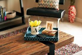 Decorating Ideas For Coffee Tables Blue Color Small Diy Cardboard Coffee Table Tray On Solid