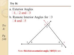 Define Interior Angle 1 Geometry Section 4 1b Angles Outside The Triangle Pg 247 Be