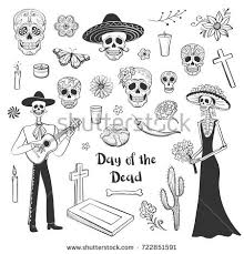 collection sketches day dead hand drawings stock vector 722851591