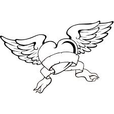 Coloriage de tatouage coeur avec des ailes a Imprimer Gratuit