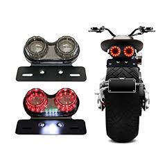 motorcycle license plate frame with led brake light amazon com bobber cafe racer atv chopper led tail light integrated