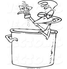 vector of a cartoon chicken seasoning himself in a soup pot