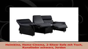 2sitzer sofa heimkino homecinema 2sitzer sofa mit tisch kunstleder schwarz