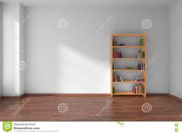 White Wall Bookcase by Empty White Room With Bookshelf Interior Stock Illustration